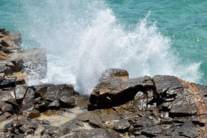 crashing on rocks